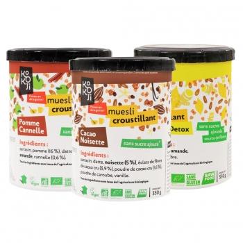 Assortiment de 3 pots de 350 g de muesli croustillant bio : pomme-cannelle + cacao-noisette + yellow-detox