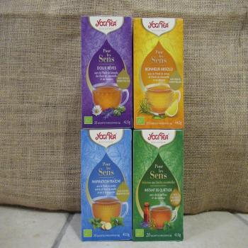 """Lot de 4 boites d'infusions bio yogi tea """"pour les sens"""""""