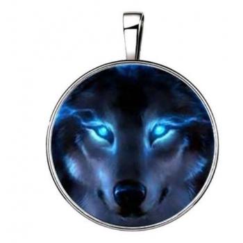 Pendentif tete de loup bleu 15 en 1 argenté