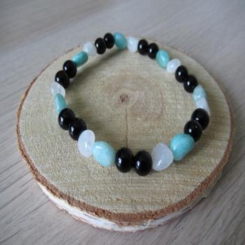 Bracelet en pierre de lune,onyx noir,amazonite