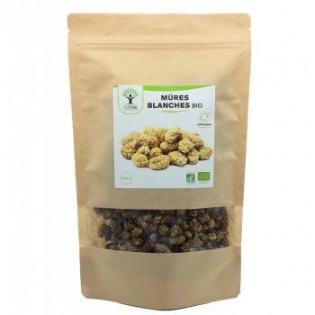 Mûres Blanches bio - Mulberries - Vitamine C - Vitamine A - Antioxydant - Fruit sec - Certifié Ecocert  BIOPTIMAL - 300g