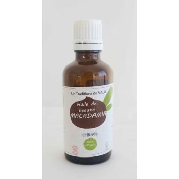 Huile de beauté Les Traditions Macadamia Bio 50ml, pour les peaux fragiles et desséchées, protectrice et adoucissante