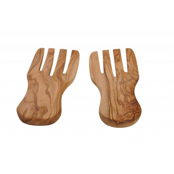 Mains à salade en bois d'olivier