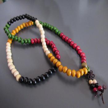 Mala tibétain 108 perles de bois multi