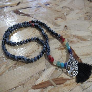 Mala 108 pierres Obsidienne neige 7 chakras