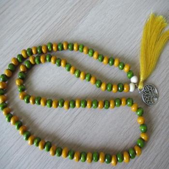 Collier ou bracelet mala en bois 108 perles n10