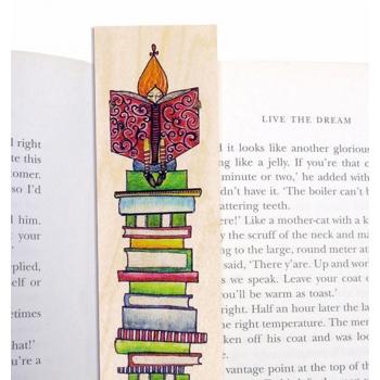 Marque-page en bois Amour de livres
