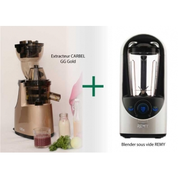 MAXI PACK : Extracteur Carbel GG Gold + Blender sous vide REMY blanc