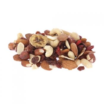 Mélange de fruits secs Sportif bio 100 g : amande, raisin sec, arachide, noisette, cajou, rondelle de banane déshydratée, baie de goji