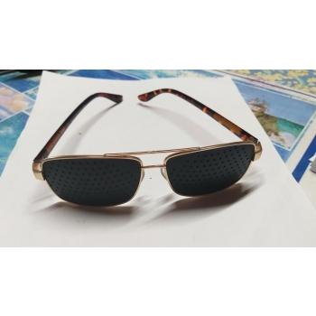 Lunettes à grilles ou  lunettes à trous monture   en métal acier doré + livret de 32 pages méthode et Ebook(20 €) voir sans lunettes offert en PDF