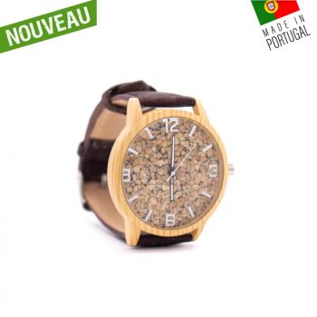 """Montre en liège artisanale """"Au Naturel""""-bracelet Marron"""
