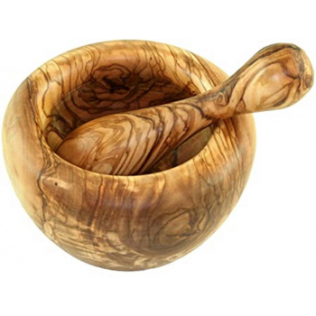 Mortier rond en bois d'olivier 14 cm