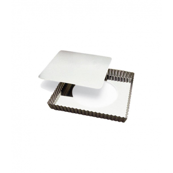 Moule à tarte carrée cannelée en fer blanc avec fond amovible