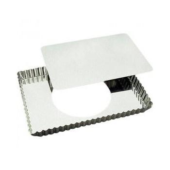 Moule à tarte rectangulaire cannelée en fer blanc avec fond amovible