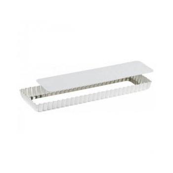 Moule à tarte rectangulaire en fer blanc avec fond amovible - Spécial Flan