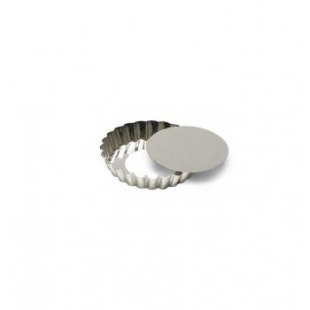 Moule à tartelette ronde cannelée avec fond mobile en fer blanc