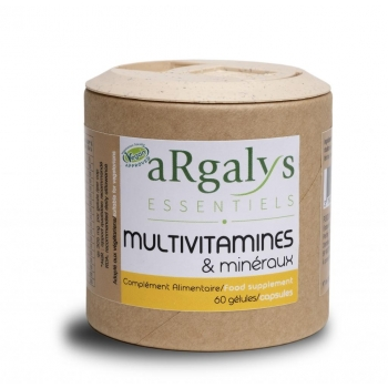 Vit B12+ Vit D3 + Fer et 10 Vitamines + 6 Mineraux Vegan - 60 gélules - Argalys