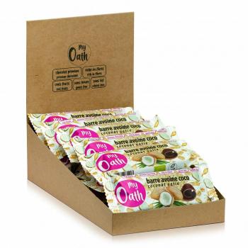 Lot de 17+3 Barres Avoine-Coco enrobée de chocolat Bio 50g - My Oath