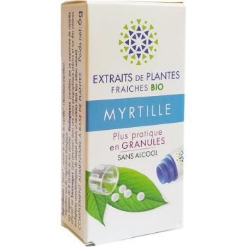 MYRTILLE Teinture Mère  d'extaits de plantes fraiches granules  Sans Alcool 130 granules Fatigue visuelle