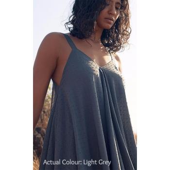 Robe en voile de coton biologique, couleur gris perle