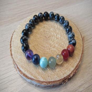 Bracelet en obsidienne neige 7 chakras
