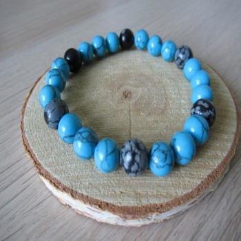 Bracelet en obsidienne et howlite