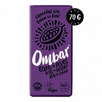 Chocolat Cru aux éclats de fève de cacao et au sel du désert 70g Bio - Ombar