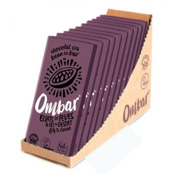 Lot de 9+1 Chocolats Crus aux éclats de fève de cacao et au sel du désert 70g Bio - Ombar