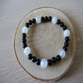 Bracelet en onyx et cristal de roche