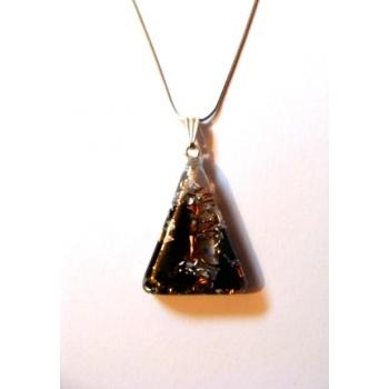 Pendentif triangle orgonite shungite argenté