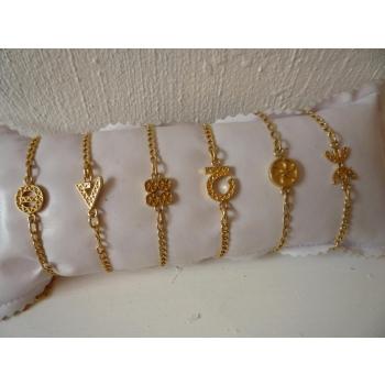Bracelet plaqué or chaîne symboles de gauche à droite : protection, force, chance, optimisme, amour et liberté