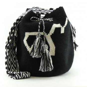 Mochila Wayuu Ethnique Noir et Blanc