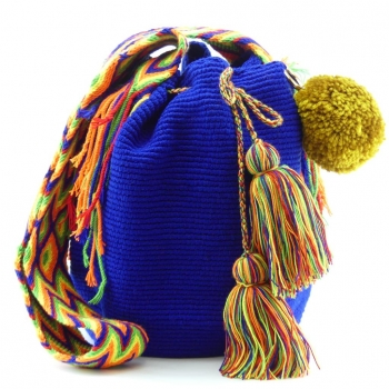 Mochila Wayuu Bleu et Pompon