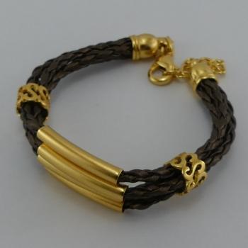 Bracelet trois lacets en cuir marron