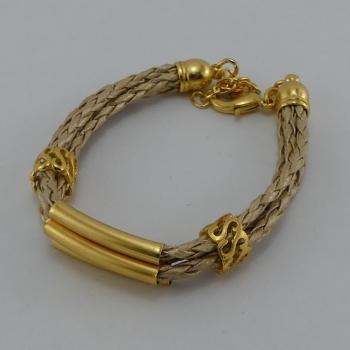 Bracelet trois lacets en cuir beige