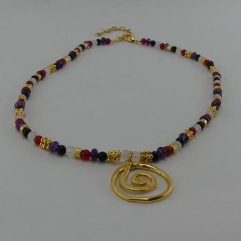 Collier Ras de cou pierres semiprecieuses et pendentif Etain et bain d'or 24 carat