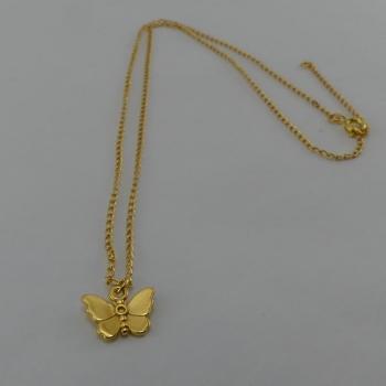 Chaine et pendentif papillon. Etain et bain d'or de 24 carats.