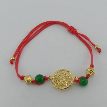 Bracelet fil orange et pendentif Etain et bain d'or de 24 carats.