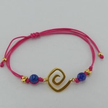 Bracelet fil rose et pendentif