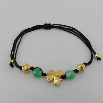 Bracelet fil noir et pendentif Etain et bain d'or de 24 carats.