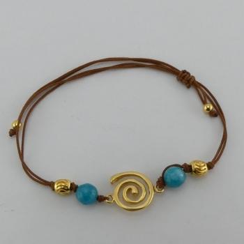 Bracelet fil marron et pendentif Etain et bain d'or de 24 carats.