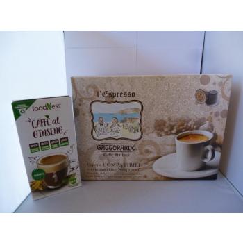 """100 Capsules café italien """" Gattopardo"""" + en cadeau 10 Caspules café au Giseng"""