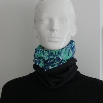 Le snood ou tour de cou bleu et vert turquoise - Homme