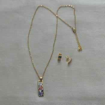 Parure Boucles d'oreilles et collier avec pendentif
