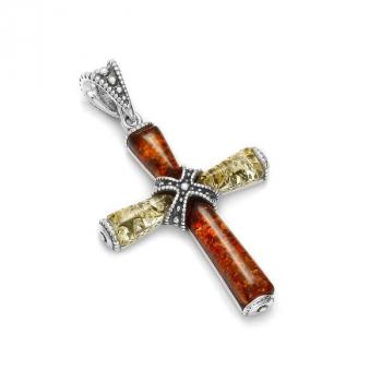 Pendentif croix en ambre sur argent
