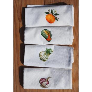 """Torchons damassés """"Collection fruits et légumes"""""""