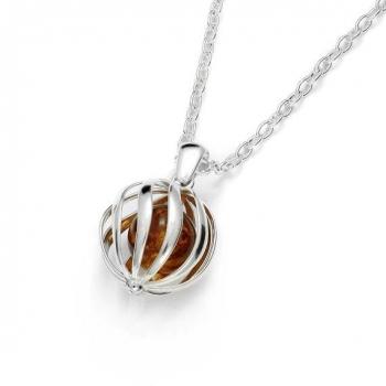Magnifique collier en ambre de la Baltique sur argent 925/1000 rhodié