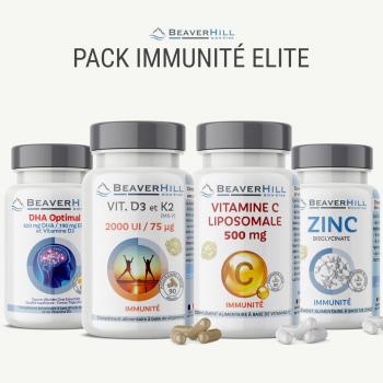 Pack IMMUNITÉ Elite - Oméga-3, Vitamines D3/K2, Vitamine C liposomale 500 mg, Zinc