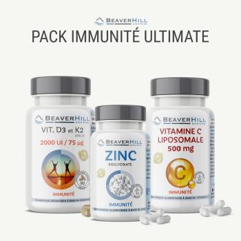 Pack IMMUNITÉ Ultimate - Vitamine C liposomale 500 mg, Zinc, Vitamines D3/K2