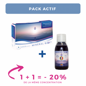 "Phycocyanine / Extrait liquide de spiruline - Pack ""actif"" - 1000 mL + sirop pêche citron 150 mL - 12 g/L"